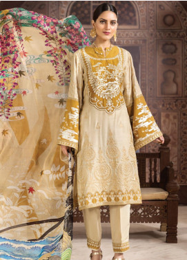 Resham Ghar Embroidered Silk Unstitched 3 Piece Suit RG19DS 01 Mustard Must - Luxury Collection