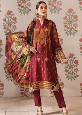 Resham Ghar Embroidered Silk Unstitched 3 Piece Suit RG19DS 02 True Warm - Luxury Collection