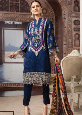 Resham Ghar Embroidered Silk Unstitched 3 Piece Suit RG19DS 03 Nice Blue - Luxury Collection