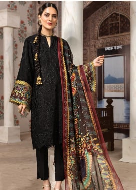 Resham Ghar Embroidered Silk Unstitched 3 Piece Suit RG19DS 05 Bold Black - Luxury Collection