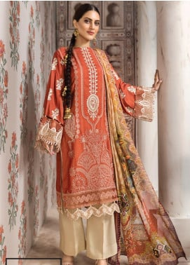 Resham Ghar Embroidered Silk Unstitched 3 Piece Suit RG19DS 06 Graccy Orange - Luxury Collection