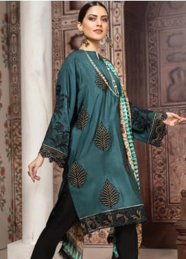 Resham Ghar Embroidered Silk Unstitched 3 Piece Suit RG19DS 07 Emerald Impact - Luxury Collection