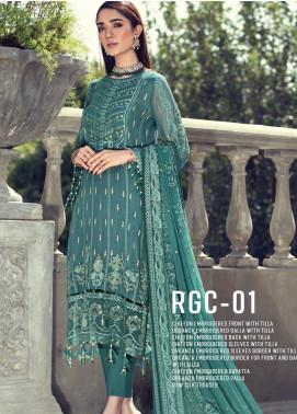 Resham Ghar Embroidered Chiffon Unstitched 3 Piece Suit RG20-C2 01 - Luxury Collection