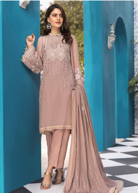 Resham Ghar Embroidered Chiffon Unstitched 3 Piece Suit RG20L 01 - Luxury Collection