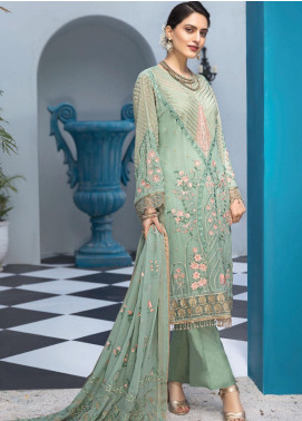 Resham Ghar Embroidered Chiffon Unstitched 3 Piece Suit RG20L 06 - Luxury Collection