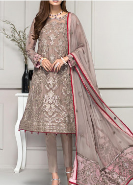 Reveuse Le Tresor by Zarif Embroidered Chiffon Unstitched 3 Piece Suit ZF20-RT2 02 Haze - Luxury Collection