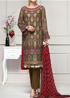 Reveuse Le Tresor by Zarif Embroidered Chiffon Unstitched 3 Piece Suit ZF20-RT2 04 Olive - Luxury Collection