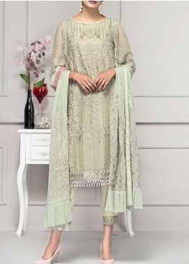 Reveuse Le Tresor by Zarif Embroidered Chiffon Unstitched 3 Piece Suit ZF20-RT2 07 Gardenia - Luxury Collection