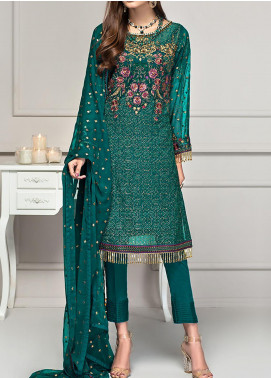 Reveuse Le Tresor by Zarif Embroidered Chiffon Unstitched 3 Piece Suit ZF20-RT2 09 Emerald - Luxury Collection