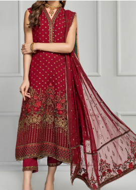 Reveuse Le Tresor by Zarif Embroidered Chiffon Unstitched 3 Piece Suit ZF20RT 05 ROSETTE - Luxury Collection