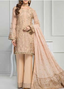 Reveuse Le Tresor by Zarif Embroidered Chiffon Unstitched 3 Piece Suit ZF20RT 08 CHAMELISH - Luxury Collection