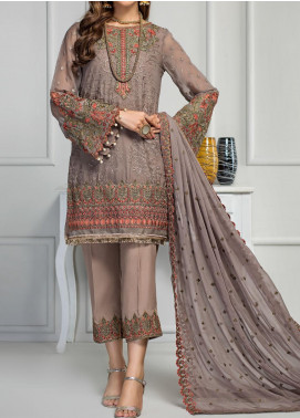 Reveuse Le Tresor by Zarif Embroidered Chiffon Unstitched 3 Piece Suit ZF20RT 11 CANDICE - Luxury Collection