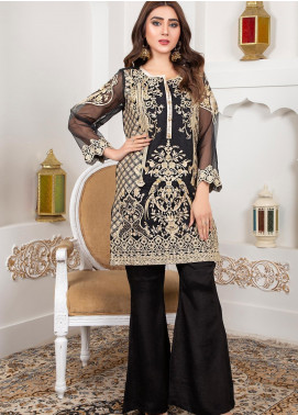 Lush Embroidered Organza Stitched Suit 02 Starling Ebony