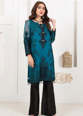 Lush Embroidered Organza Stitched Suit Cerulean Passion