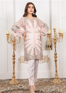 Lush Embroidered Organza Stitched Suit 07 Flamingo