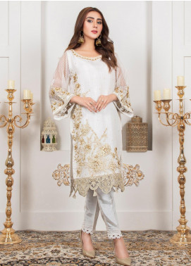 Lush Embroidered Organza Stitched Suit 08 Chantilly Lace