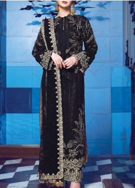 Ritzier by Rang Rasiya Embroidered Net Unstitched 3 Piece Suit RR20RW 04 Signature Noir - Wedding Collection