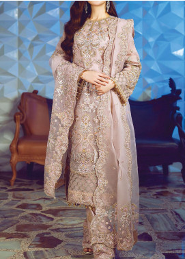Ritzier by Rang Rasiya Embroidered Organza Unstitched 3 Piece Suit RR20RW 06 Violet Sage - Wedding Collection
