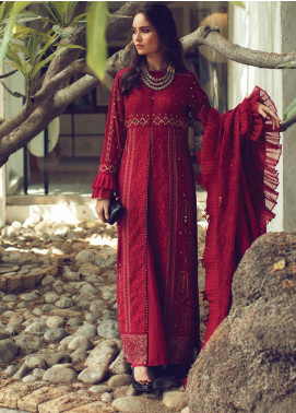 Rouche Embroidered Chikankari Unstitched 3 Piece Suit RCH20CK 02 Ruby - Luxury Collection