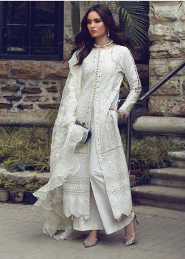 Rouche Embroidered Chikankari Unstitched 3 Piece Suit RCH20CK 04 Ivory - Luxury Collection