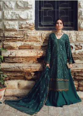 Rouche Embroidered Chikankari Unstitched 3 Piece Suit RCH20CK 06 Emerald - Luxury Collection