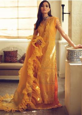 Rouche Embroidered Chikankari Unstitched 3 Piece Suit RCH20CK 07 Saffron - Luxury Collection