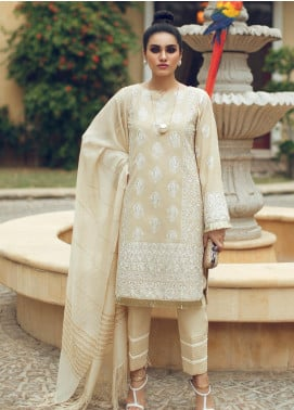 Rouche Embroidered Chikankari Unstitched 3 Piece Suit RCH19CK 05 Regal Dream - Luxury Collection