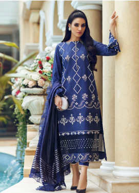 Rouche Embroidered Chikankari Unstitched 3 Piece Suit RCH19CK 06 Evening Blue - Luxury Collection