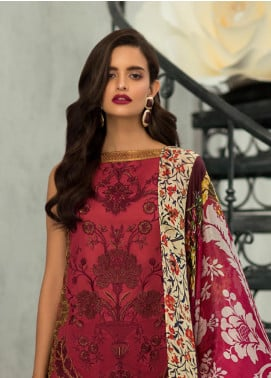 Rouche Embroidered Lawn Unstitched 3 Piece Suit RCH19L 5 SCARLET GARDEN - Festive Collection