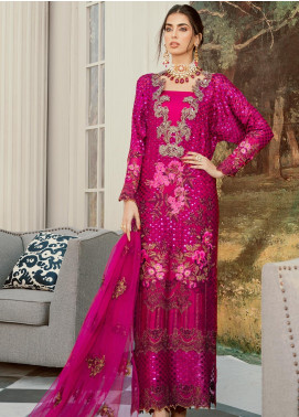 Rouche Embroidered Khaadi Net Unstitched 3 Piece Suit RCH20LX 01 Wild Rose - Luxury Collection
