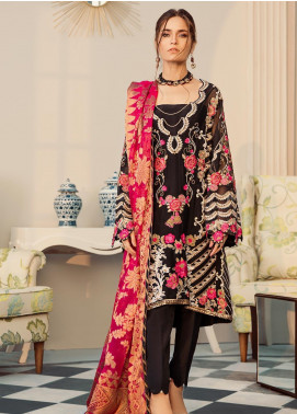 Rouche Embroidered Khaadi Net Unstitched 3 Piece Suit RCH20LX 02 Black Mastery - Luxury Collection
