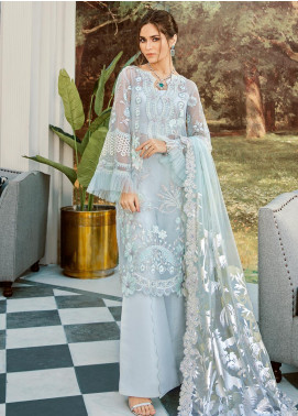 Rouche Embroidered Organza Unstitched 3 Piece Suit RCH20LX 05 Frozen Forest - Luxury Collection