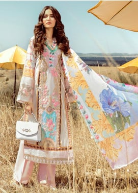 Rouche Embroidered Lawn Unstitched 3 Piece Suit RCH20S Petal Pink 03 - Luxury Collection