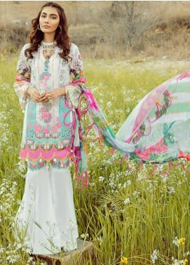 Rouche Embroidered Lawn Unstitched 3 Piece Suit RCH20S Sugar Blush 07 - Luxury Collection