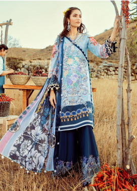 Rouche Embroidered Lawn Unstitched 3 Piece Suit RCH20S Saphire 10 - Luxury Collection