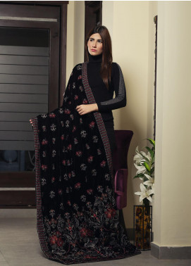Royal Gallery Embroidered Velvet  Shawl ROG19S 1 Black - Winter Luxury Collection
