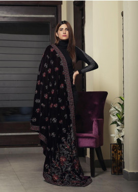 Royal Gallery Embroidered Velvet  Shawl ROG19S 1 Brown - Winter Luxury Collection