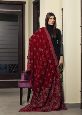 Royal Gallery Embroidered Velvet  Shawl ROG19S 1 Red - Winter Luxury Collection
