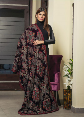 Royal Gallery Embroidered Velvet  Shawl ROG19S 4 Brown - Winter Luxury Collection