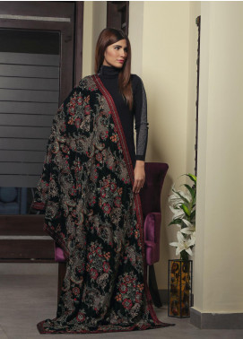Royal Gallery Embroidered Velvet  Shawl ROG19S 4 Ferozi - Winter Luxury Collection