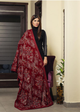 Royal Gallery Embroidered Velvet  Shawl ROG19S 4 Red - Winter Luxury Collection