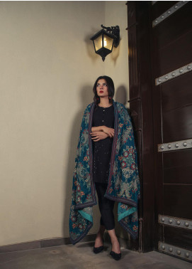 Royal Gallery Embroidered Velvet  Shawl ROG19S 4 Sky Blue - Winter Luxury Collection