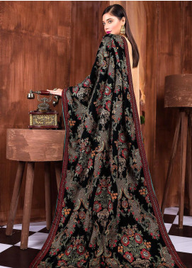 Royal Gallery Embroidered Velvet  Shawl ROG19S 5 Black - Winter Luxury Collection