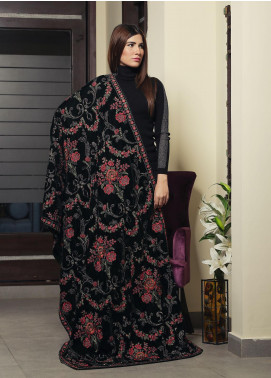Royal Gallery Embroidered Velvet  Shawl ROG19S 5 Green - Winter Luxury Collection