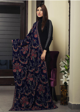 Royal Gallery Embroidered Velvet  Shawl ROG19S 5 Royal Blue - Winter Luxury Collection