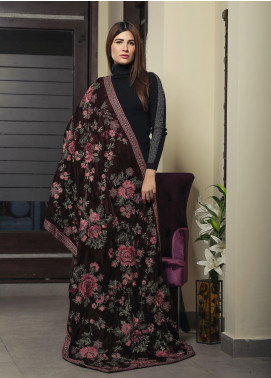 Royal Gallery Embroidered Velvet  Shawl ROG19S 6 Brown - Winter Luxury Collection