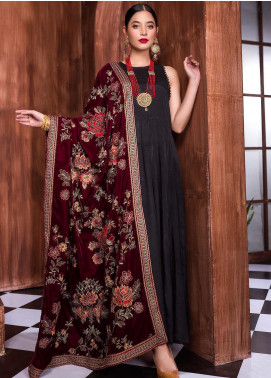 Royal Gallery Embroidered Velvet  Shawl ROG19S 6 Maroon - Winter Luxury Collection