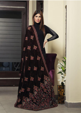 Royal Gallery Embroidered Velvet  Shawl ROG19S 7 Brown - Winter Luxury Collection