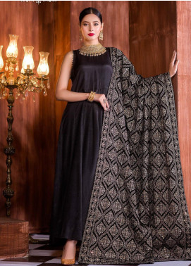 Royal Gallery Embroidered Velvet  Shawl ROG19S 8 Black - Winter Luxury Collection