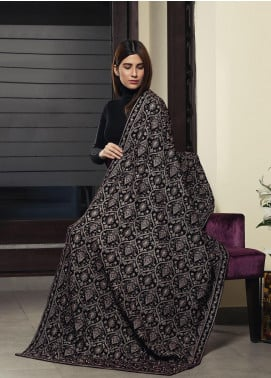 Royal Gallery Embroidered Velvet  Shawl ROG19S 8 Brown - Winter Luxury Collection